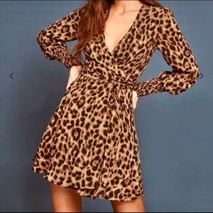 Reformation Kerri Leopard Wrap Dress - Size M